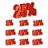 Discount Numbers 3d Vector. Red Sale Percentage Icon Set In 3D Style Isolated On White Background. 10 percent off, 15 off and 20 p Royalty Free Stock Photo