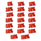 Discount Numbers 3d Vector. Red Sale Percentage Icon Set In 3D Style Isolated On White Background. 10 percent off, 15 off and 20 p Stock Image