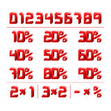 Discount Numbers. Red square 3d vector Royalty Free Stock Images