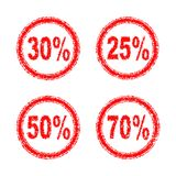Discount numbers for the sale of 25%, 30%, 50%, 70% in one style. Discounts for sale 25%, 30%, 50%, 70% in the red circle, with the effect of cracks Stock Photos