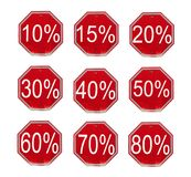 Discount numbers set. 10 off and 50 off percent  discount store signs Stock Images