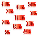 Discount numbers. Set of three-dimensional discount numbers from 5 to 100 percents. Transparent reflections Vector Illustration