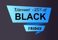 Discount -25 Off Black Friday Ad Label on Ribbon Royalty Free Stock Photo