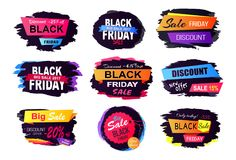 Discount -25 Off Black Friday Vector Illustration. Discount -25 off black Friday, big sale only today, labels with dark background and headline place in Stock Image