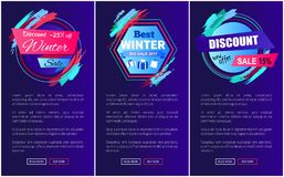 Discount -25 Off Blue on Vector Illustration. Discount -25 off blue and winter sale, websites collection with stickers and text sample with buttons on vector Royalty Free Stock Photography