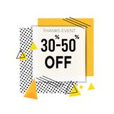 30% - 50% discount off with dotted texture and orange rectangle. Sale banner template design. Big sale special offer. Special royalty free illustration