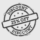 Discount 25% off rubber stamp isolated on white. Stock Photo