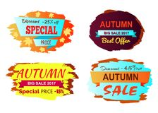 Discount 25 Off Special Price Vector Illustration. Discount -25 off special price, autumn big sale, best offer, set of stickers with headlines and foliage vector Royalty Free Stock Photos