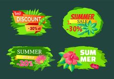 Discount 30 Off Summer Big Sale Set Promo Labels. Discount 30 off summer big sale set of promo labels with tropical flowers on palm trees, advertisement stickers Stock Images