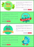 Discount 30 Off Summer Big Sale Set Promo Labels. Discount 30 off summer big sale set of promo labels on web posters tropical flowers on palm trees Royalty Free Stock Photography