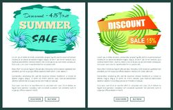 Discount with 45 and 15 Off Only at Summer Poster. Discount with 45 and 15 only at summer promo posters set. Sale commercial banners palm leaves. Seasonal price royalty free illustration