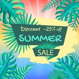 Discount 25 Off Summer Sale Poster. Advertisement. About summer sale tropical view. Discount summer background with palm leaves vector illustration Royalty Free Stock Photos