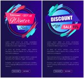 Discount Winter Collection on Vector Illustration. Discount -25 off winter and new offer, collection of creative web pages including labels with titles and text Stock Image
