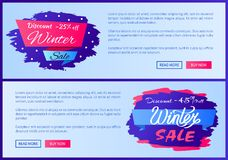 Discount -25 Off Winter Sale Vector Illustration Stock Photos