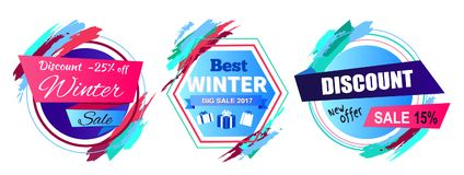 Discount -25 Off Winter Sale Vector Illustration. Discount -25 off winter sale and new offer, set of stickers and badges of circular shapes with titles and icons Royalty Free Stock Photos