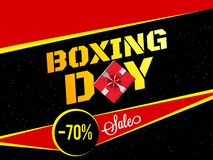 70% discount offer for Boxing Day sale banner or poster design w. Ith gift box stock illustration