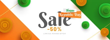 50% discount offer, paper quilling flowers decorated on national. Flag color background. Sale banner or poster design for Happy Republic Day celebration royalty free illustration