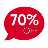 Special offer 70% off sale red speech bubble tag vector illustration Stock Photos