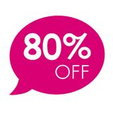 Special offer 80% sale pink speech bubble tag vector illustration. Discount offer price label, symbol advertising in retail, sale promo marketing, 80% off Royalty Free Stock Images