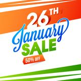 50% discount offer with stylish lettering of 26th January Sale o. N National flag colors background for Indian Republic Day celebration royalty free illustration