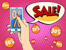 Discount online store smartphone app woman Royalty Free Stock Photography