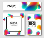 Discount, party time, sale white cards. Mega discount, party time, big sale white isolated cards with colour bubbles. Vector paper illustration.r Royalty Free Stock Images