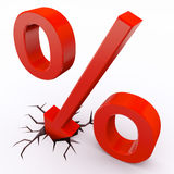 Discount percent. With arrow hitting floor Stock Photo