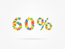 Discount 60 percent colorful vector illustration. On grey background. 60 percent off discount creative promotion concept. Special offer isolated element for royalty free illustration