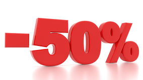 Discount 50 percent. 3d. Discount 50 percent. 3d red Stock Photos