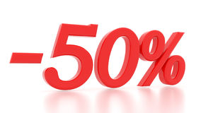 Discount 50 percent. 3d. Discount 50 percent. 3d red Royalty Free Stock Photography