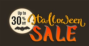 Discount 30 percent of Halloween holiday sale. Bat on full moon and lettering text. Vector cartoon illustration Royalty Free Stock Images