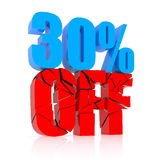 30% discount. 30 percent discount icon on white background Royalty Free Stock Photography