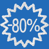 Discount - 80 percent. Made from clouds on background royalty free illustration