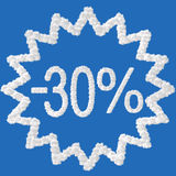 Discount - 30 percent. Made from clouds on blue background Stock Photos