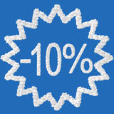 Discount - 10 percent. Made from clouds on blue background Stock Photography