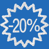 Discount - 20 percent. Made from clouds on blue background vector illustration