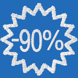 Discount - 90 percent. Made from clouds on blue background Royalty Free Stock Photography
