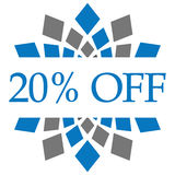 Discount 20 Percent Off Blue Grey Circular. Discount 20 percent text written over blue grey background Royalty Free Stock Photo