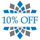 Discount 10 Percent Off Blue Grey Circular. Discount 10 percent text written over blue grey background Stock Image