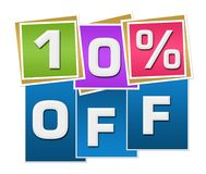 Discount 10 Percent Off Colorful Squares Stripes. Ten percent off text written over colorful blue background Stock Image