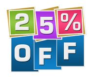 Discount 25 Percent Off Colorful Squares Stripes. Twenty-five percent off text written over colorful blue background Royalty Free Stock Photos