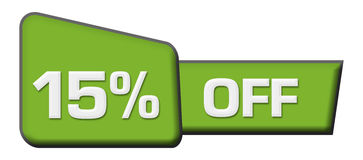 Discount 15 Percent Off Green Triangle Horizontal Stock Image