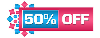 Discount 50 Percent Off Pink Blue Circular Bar Royalty Free Stock Image