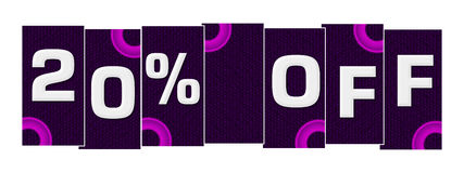 Discount 20 Percent Off Purple Pink Rings. Discount 20 percent off concept image with text over purple pink background vector illustration