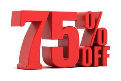 75 percent off promotion. Discount 75 percent off sale stock illustration