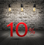 Discount 10 percent off with text special offer your discount in. Interior with white brick wall and wooden floor and classic Edison light bulb vector illustration
