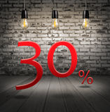 Discount 30 percent off with text special offer your discount in. Interior with white brick wall and wooden floor and classic Edison light bulb Royalty Free Stock Images