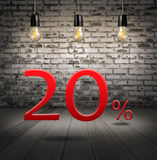 Discount 20 percent off with text special offer your discount in. Interior with white brick wall and wooden floor and classic Edison light bulb Stock Images