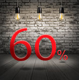 Discount 60 percent off with text special offer your discount in. Interior with white brick wall and wooden floor and classic Edison light bulb Vector Illustration