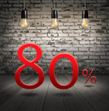 Discount 80 percent off with text special offer your discount in. Interior with white brick wall and wooden floor and classic Edison light bulb Stock Photo